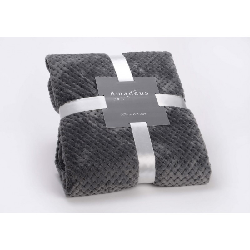 plaid damier gris anthracite 130x170 cm amadeus. Black Bedroom Furniture Sets. Home Design Ideas