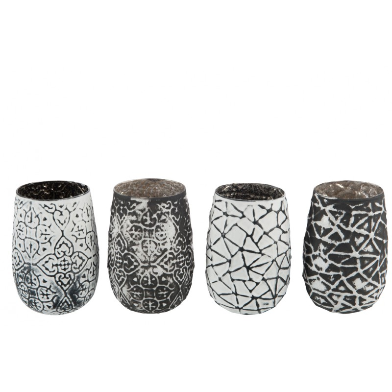 Photophore motifs noir ou blanc jolipa - Motif noir et blanc ...