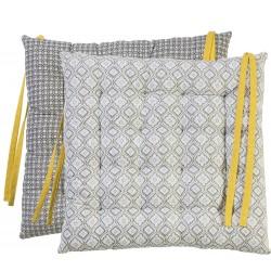 Galette de chaise Hacienda jaune 40 x 40 cm Déco&co