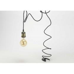 Cable+prise laiton et fil noir Amadeus