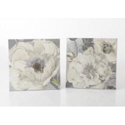 Toile fleur argent 60 x 60 cm Amadeus