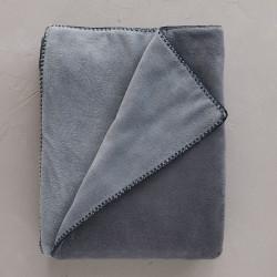 Plaid polaire bicolore nuit/bleu 150 x 150 cm Sylvie Thiriez