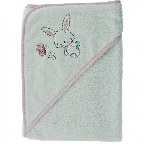 Cape de bain brodée Baby rabbit