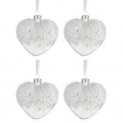 Coffret de 4 boules noël coeur perle Jolipa