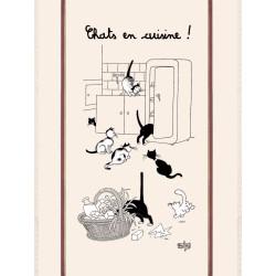 """Grand torchon Dubout """"Chat en cuisine"""" 60 x 80 cm"""