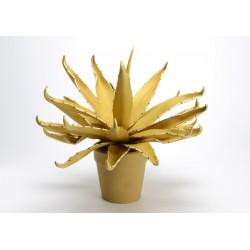 Fleur artificielle Agave en pot moutarde Amadeus