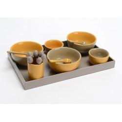 Plateau apéro 5 bols + cuillères moutarde Amadeus