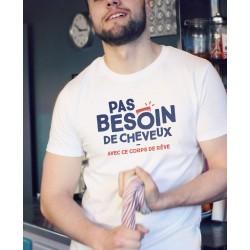 "Tee-shirt homme ""Pas besoin de cheveux"" Monsieur Tshirt"