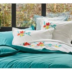 Taie d'oreiller brodée 65 x 65 cm Fleurs de Bali Sylvie Thiriez