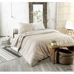 Parure de draps flanelle Dotty beige 280 X 300 cm Tradilinge