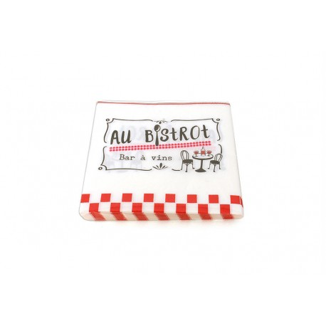 """Sachet de 20 serviettes en papier """"Au bistrot"""" 33x33 cm Faye"""