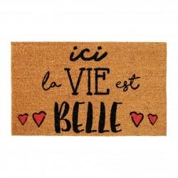 """Paillasson coco """"Ici la vie est belle"""" 73 x 43 cm Jardin d'Ulysse"""
