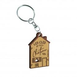 """Porte clés gravé """"Les clés de mon château"""" Bubble Gum"""