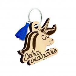 """Porte clés gravé """"Licorne extraordinaire"""" Bubble Gum"""