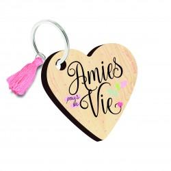 """Porte clés imprimé """"Amies pour la vie"""" Bubble Gum"""