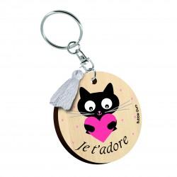 """Porte clés imprimé """"Je t'adore chat"""" Bubble Gum"""
