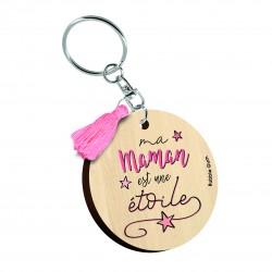 """Porte clés imprimé """"Ma maman est une étoile"""" Bubble Gum"""