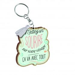 """Porte clés imprimé """"Mettez un sourire"""" Bubble Gum"""