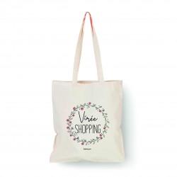 "Tote bag naturel ""Virée shopping"" Bubble Gum"