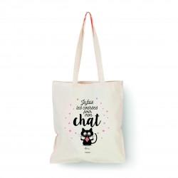 """Tote bag naturel """"Je fais les courses pour mon chat"""" Bubble Gum"""