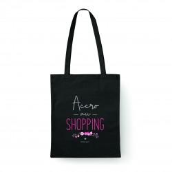 """Tote bag noir """"Accro au shopping"""" Bubble Gum"""