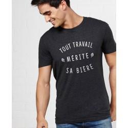 "Tee-shirt homme ""Tout travail mérite sa bière"" Monsieur Tshirt"
