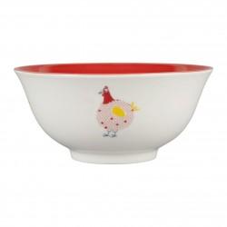 Bol poule rouge 65cl Jardin d'Ulysse