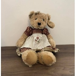 Peluche ours robe vichy Chrissie 43 cm Country Casa