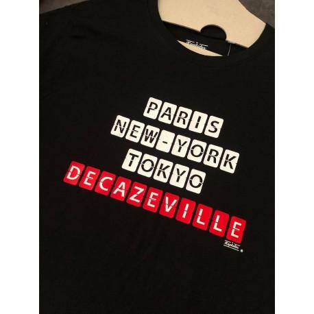 "Tee-shirt homme ""Paris, New-york, Tokyo, Decazeville"" rouge Kapitales"